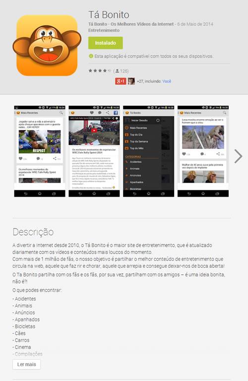App na Play Store do Google