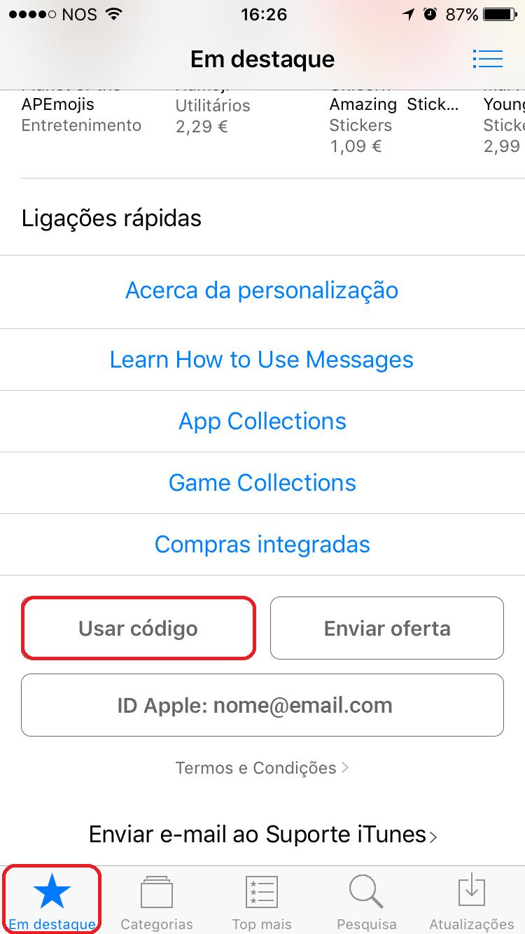 Como usar codigo promocional apple store