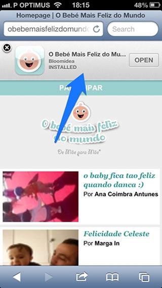 Exemplo de um Smar App Banner